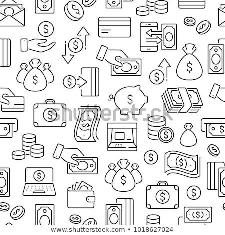 бесшовный деньги Финансы монохромный шаблон вектора Сток-фото © curiosity