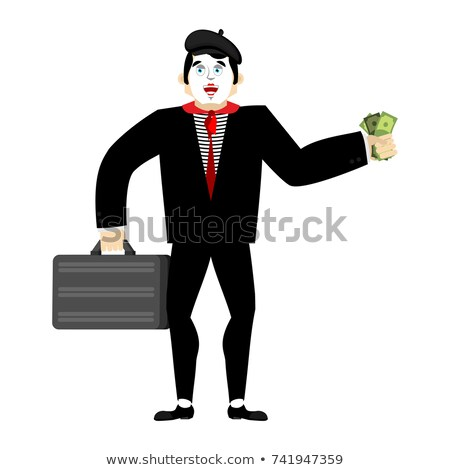 Mime businessman. pantomime boss. mimic buyer and money. Vector  Stock photo © popaukropa