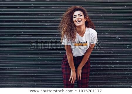 lány · diák · portré · szemüveg · mosoly · arc - stock fotó © razvanphotography