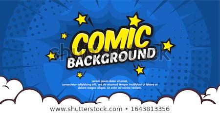 Blauw cartoon explosie pop art retro brand Stockfoto © studiostoks