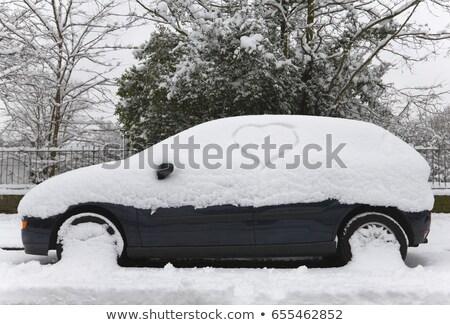 śniegu · pokryty · samochodu · posiedzenia · podjazd · zimą - zdjęcia stock © is2