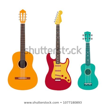 Gitár közelkép klasszikus akusztikus gitár népszerű hangszer Stock fotó © psychoshadow