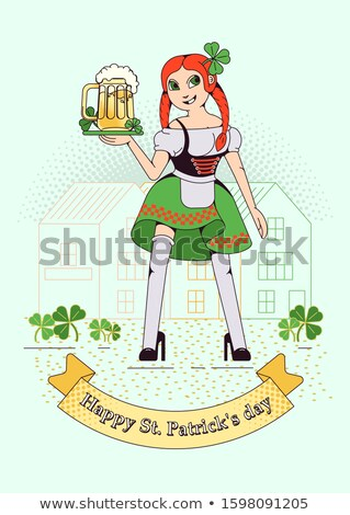 mug of beer for oktoberfest character beer festival against bac stock photo © popaukropa