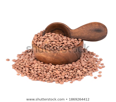 Bowl of lentil porridge and spoon isolated. Healthy food for bre Stock photo © MaryValery