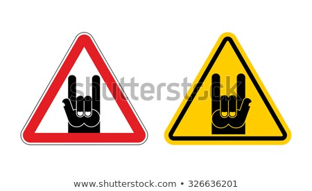Warning sign of attention rock music. Rock hand yellow label. Ro Stock photo © popaukropa