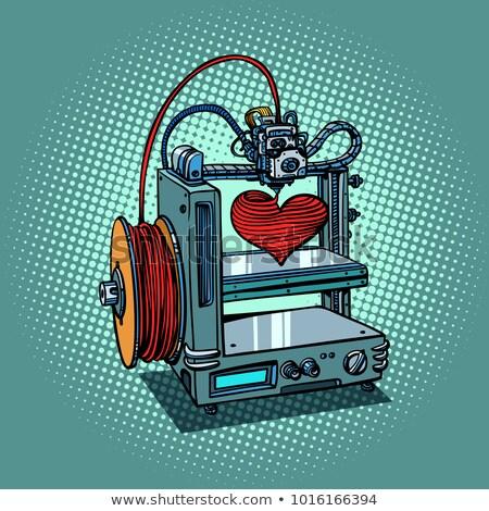 Liefde hart 3D printer productie valentijnsdag Stockfoto © rogistok