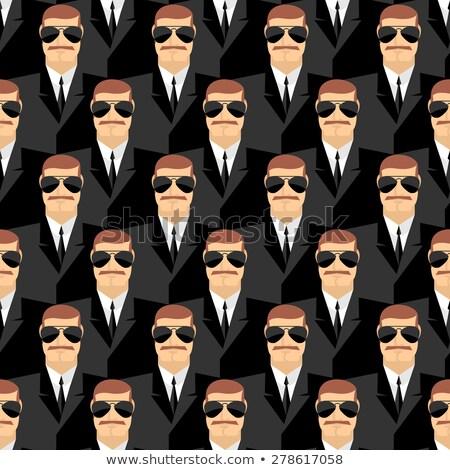 Security Bodyguard. Pattern of men in glasses.  Vector backgroun Stock photo © popaukropa