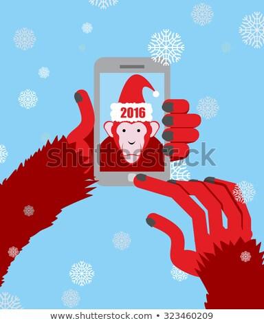 új év majom kapucnis mikulás fotó okostelefon Stock fotó © popaukropa