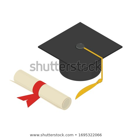 Graduation cap with scroll isometric 3D elements Stock photo © studioworkstock