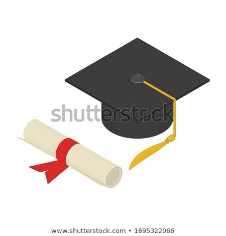 Graduation cap with scroll isometric 3D elements Stock photo © studioworkstock