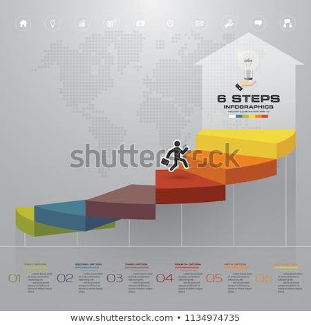 Vector vooruitgang zes stappen sjabloon een Stockfoto © orson