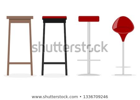 Houten bar stoel kruk ingesteld iconen Stockfoto © konturvid