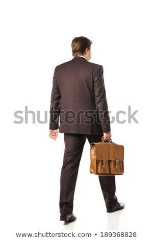 小さな ビジネスマン ブリーフケース 手順 ルックス ストックフォト © feedough