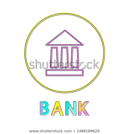 Bank Icon with Yellow Circle Frame Color Poster Stock photo © robuart