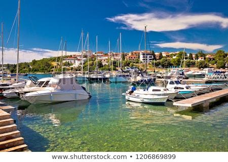 Kikötő türkiz part kilátás régió Horvátország Stock fotó © xbrchx