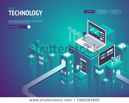 flat isometric vector landing page template of website data analysis stock photo © tarikvision