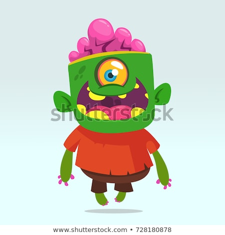 Green creepy zombie man Stock photo © bluering