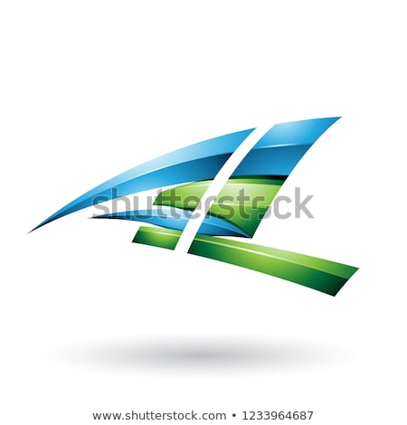 Blue and Green Dynamic Glossy Flying Letter L Vector Illustratio Stock photo © cidepix