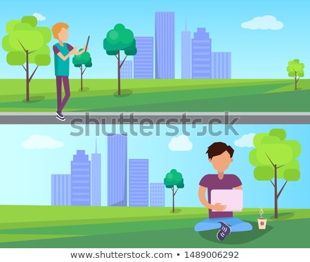 Work on Fresh Air in Urban Park Web Banners Set Stock photo © robuart