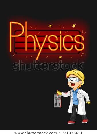 Kid мальчика неоновых свет физика иллюстрация Сток-фото © lenm