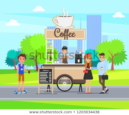 coffee stop at city street with students vector stock photo © robuart