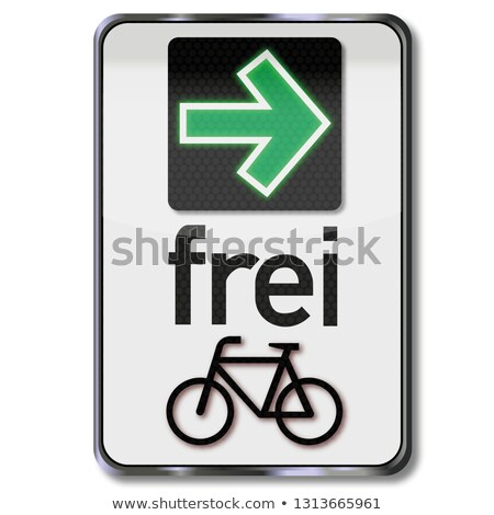 road sign with green arrow and permit to turn right for cyclists stock photo © ustofre9