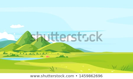 Turista hegy tó férfi utazó domb Stock fotó © Kotenko