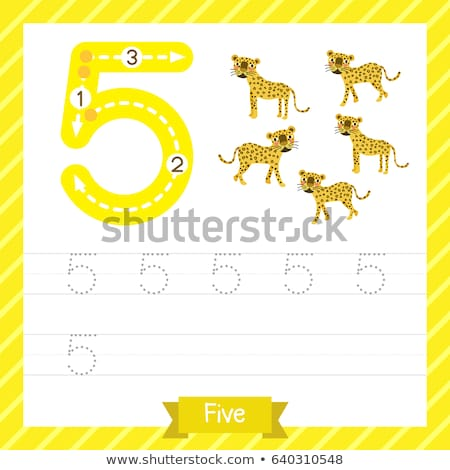 number five tracing worksheets stock photo © colematt