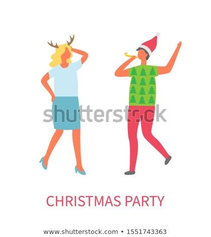 karácsony · buli · emberek · barátok · tánc · együtt - stock fotó © robuart