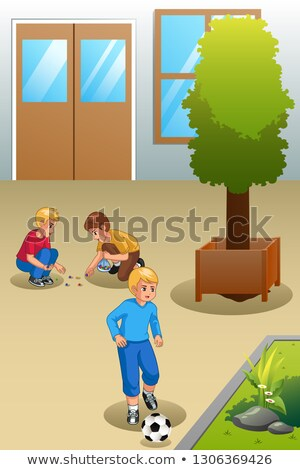 Kids Playing Marbles and Soccer Outdoors Illustration Stock photo © artisticco