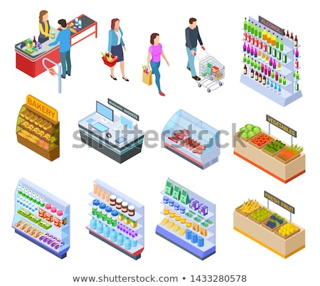 supermarket seller fruit store and client vector stock photo © robuart