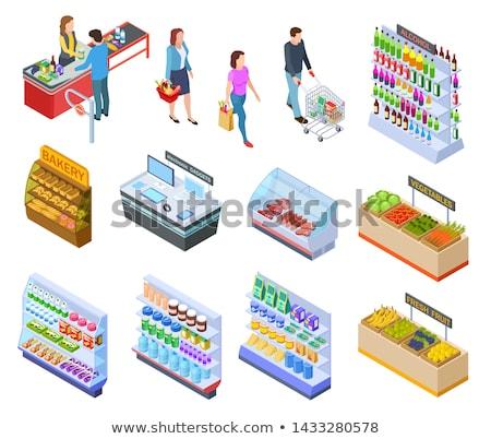 Supermarkt verkoper vruchten store cliënt vector Stockfoto © robuart