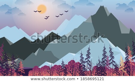 vector nature landscape with coniferous trees and mountain silho stock photo © freesoulproduction