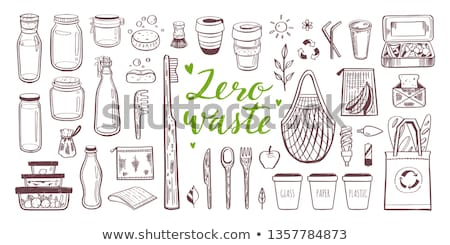 Set of isolated hand drawn zero waste objects. Eco lifestyle. Save planet. Care of nature. Vegan. No Stock photo © user_10144511