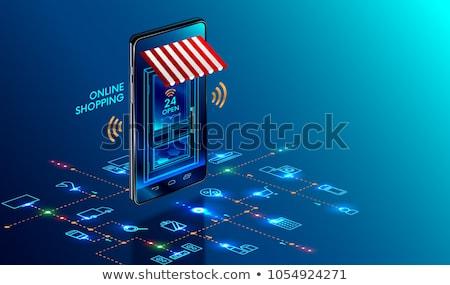 Online vásárlás vektor izometrikus marketing digitális okostelefon Stock fotó © tashatuvango