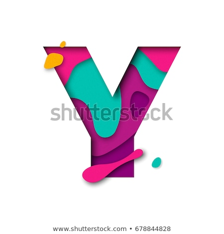 multi color layers font letter y 3d stock photo © djmilic