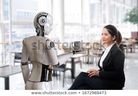 Insansı robot beyaz tahta 3d illustration yazı Stok fotoğraf © limbi007