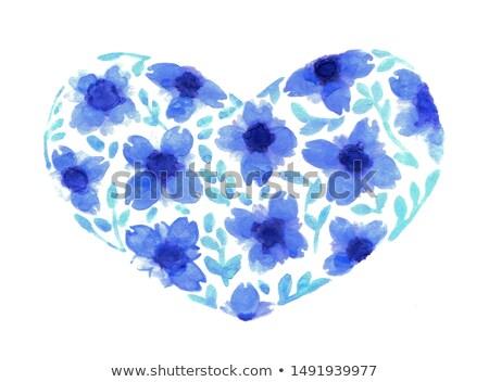 Violets forming a wide heart watercolor painting Stock photo © shawlinmohd