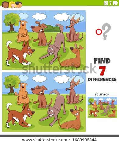 Diferenças jogo cães grupo desenho animado Foto stock © izakowski
