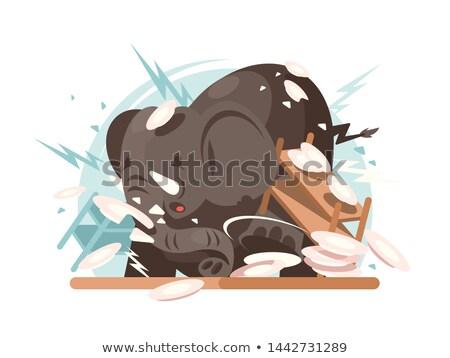 Elefánt kellékek karakter nagy konyha vacsora Stock fotó © jossdiim