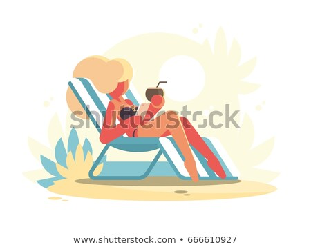 Young blonde lying on chaise longue Stock photo © jossdiim