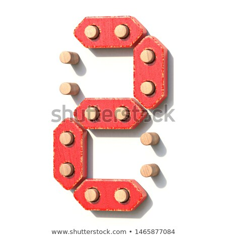 Wooden toy red digital number 2 TWO 3D Stock photo © djmilic