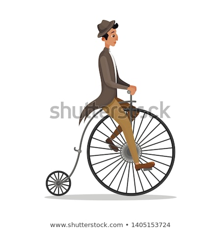 Man on retro vintage old bicycle gentleman vector Stock photo © NikoDzhi