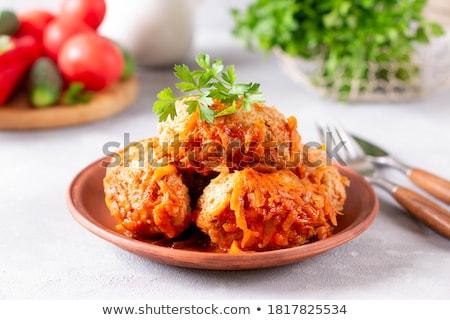 Sosis domates sosu ahşap tepsi gıda Stok fotoğraf © Alex9500