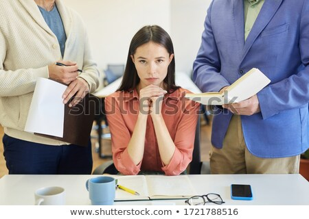 Woman Sitting New Annoying Male Colleague At Work In Office Stock photo © AndreyPopov