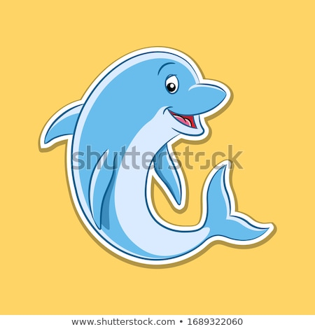 Sticker of Dolphin Cartoon on a Yellow Background Stock photo © cidepix