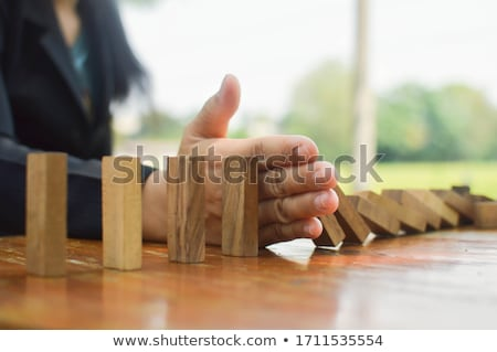 Risk and strategy in business, Close up of businessman hand stop Stock photo © Freedomz