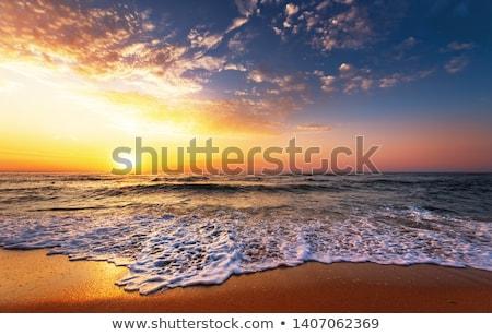 Coucher du soleil mer île Philippines eau nuages Photo stock © galitskaya