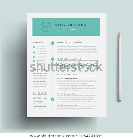 Minimalist green resume cv template Stock photo © orson