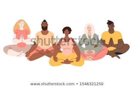 Diverse people set doing yoga pose exercises Stock photo © cienpies
